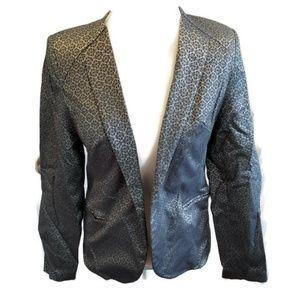 Monroe & Main metallic gold teal blazer jacket